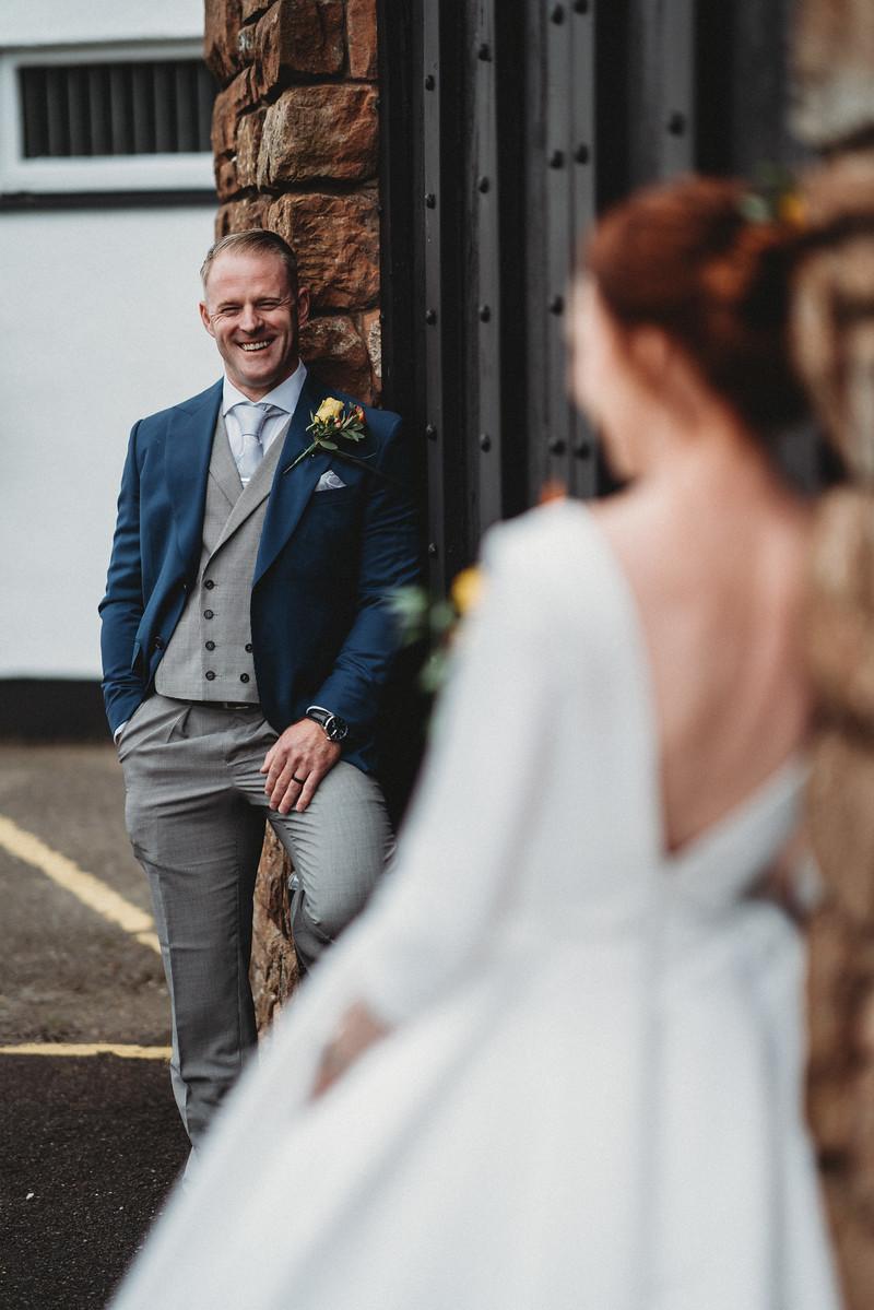 Unique bride and groom wedding photo
