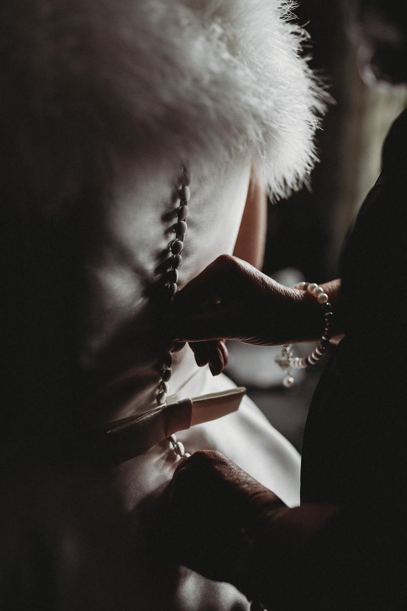 Creative photo of brides back of dress