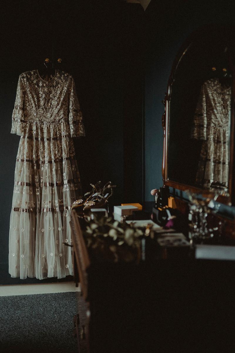 Brides wedding dress and accessories