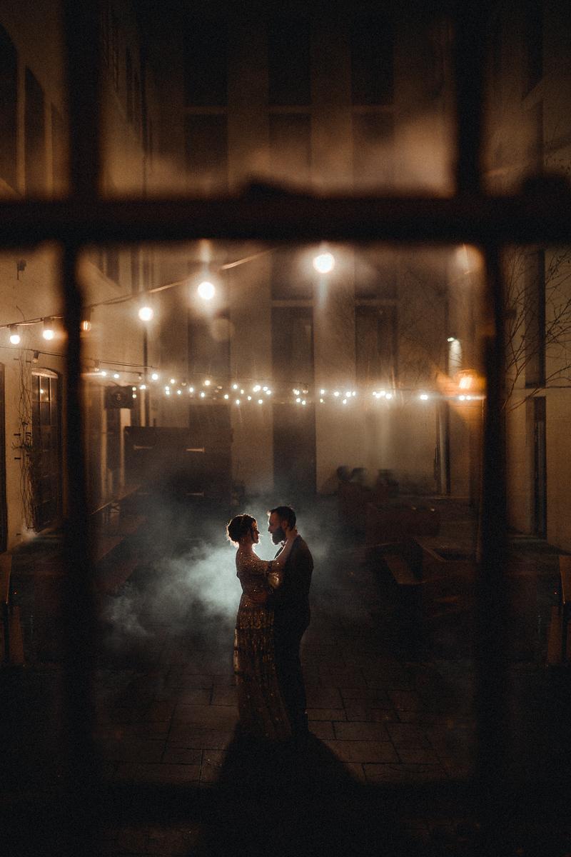Bride and groom wedding photography, with smoke effect